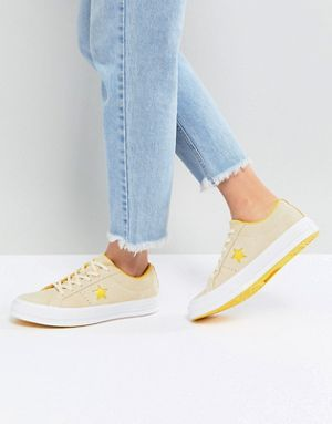 ee3bb5016c0 Converse One Star Ox Trainers In Yellow Suede