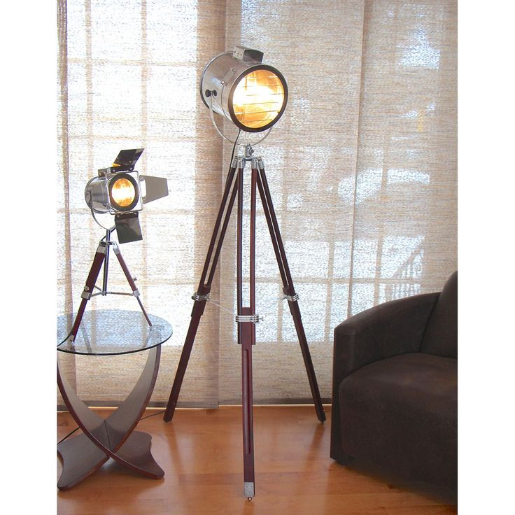The Ahoy adjustable floor lamp evokes an industrial contemporary design. The tripod legs of the floor lamp are fully adjustable. The spotlight lamp can swivel in multiple directions to adjust to your rooms needs