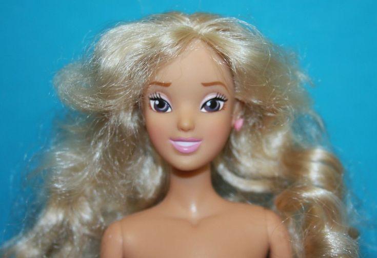 NUDE DISNEY Barbie Size Doll Platinum Blonde LONG CURLS Belly Body #Disney #Dolls