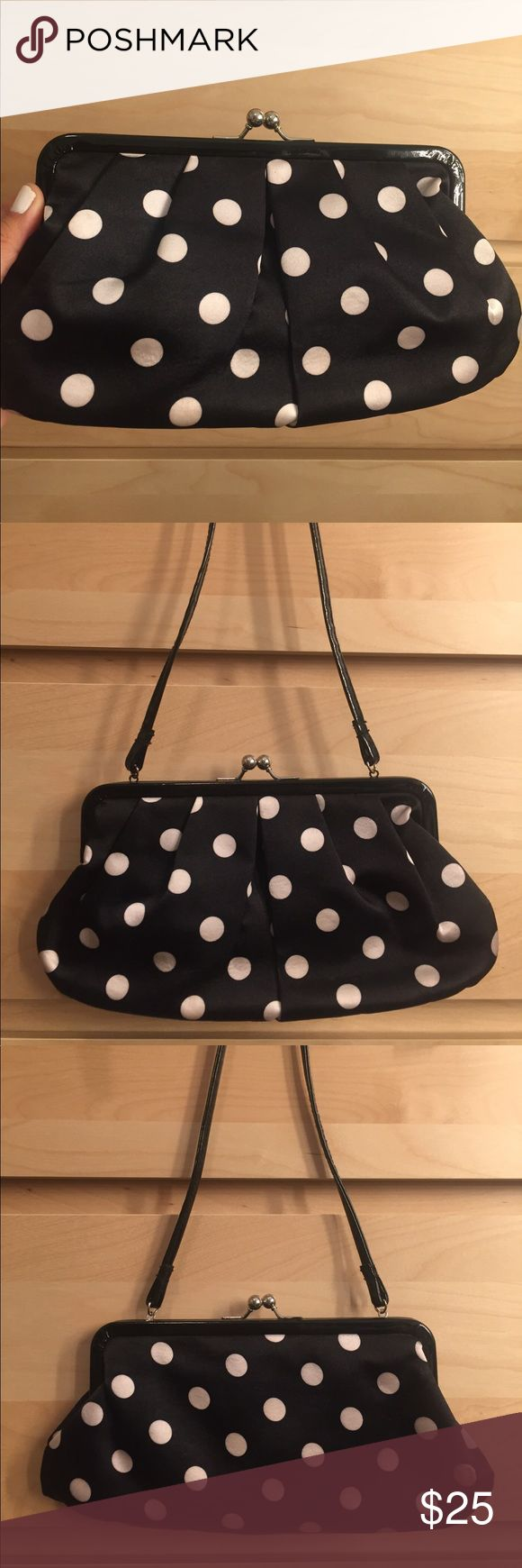 "Polka dot clutch bag Black and white polka dot clutch bag with short strap. can be used with strap or as a clutch by putting strap inside bag. Super cute, retro, vintage style bag! Dimensions: 10.5"" x 5"". Bags Clutches & Wristlets"