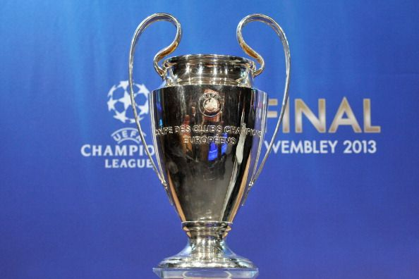 The UEFA Champions League trophy is displayed during the UEFA Champions League semi-final and final draws at the UEFA headquarters on April 12, 2013 in Nyon, Switzerland