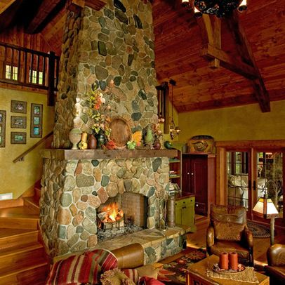 Stairs Behind Fireplace Fireplace Design Cabin Design