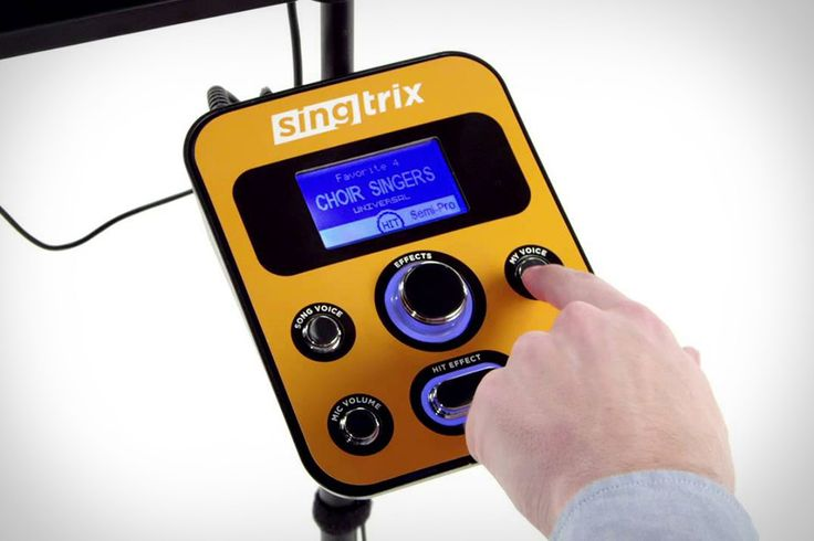 Singtrix. This all-in-one karaoke solution is powered by advanced audio technology that can strip/lower the vocals in any song and then let you sing over top using one of 350 effects. ($300)