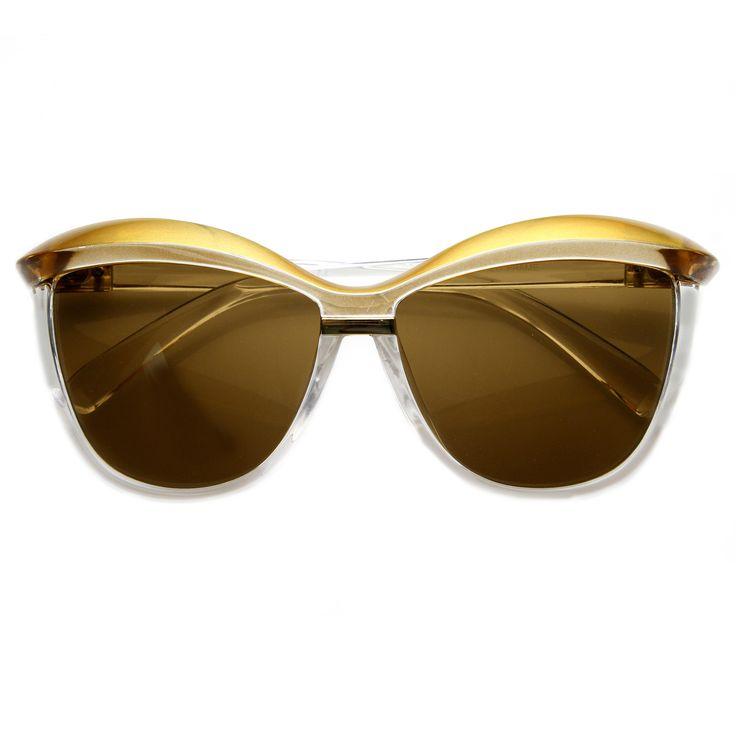 Retro 1970's Womens Oversize Eyebrow Cat Eye Sunglasses 9193 from zeroUV in black pink.