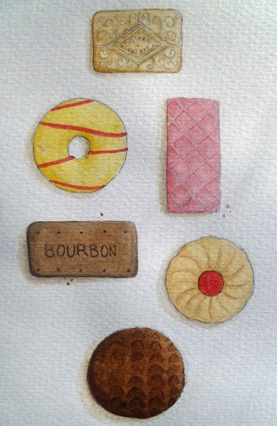 SALE ITEM Biscuit Selection Painting Original Watercolour Art by AnnetteJonesArt on Etsy, £4.00