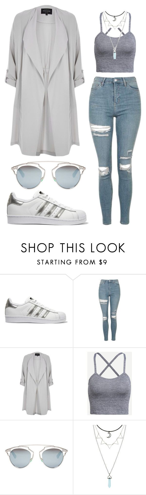 """""""Untitled #1588"""" by aginica ❤ liked on Polyvore featuring adidas Originals, Topshop, River Island and Christian Dior"""
