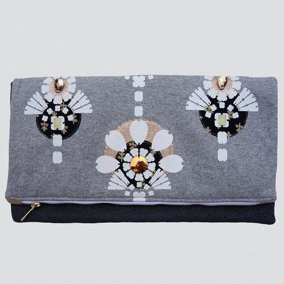 grey GOLD white embellished OVERSIZE CLUTCH PURSE handmade fold over style by dAKOTArAEdUST, £38.00