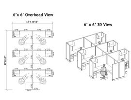 Floor Plans & Dimensions for 67high Standard Cubicle