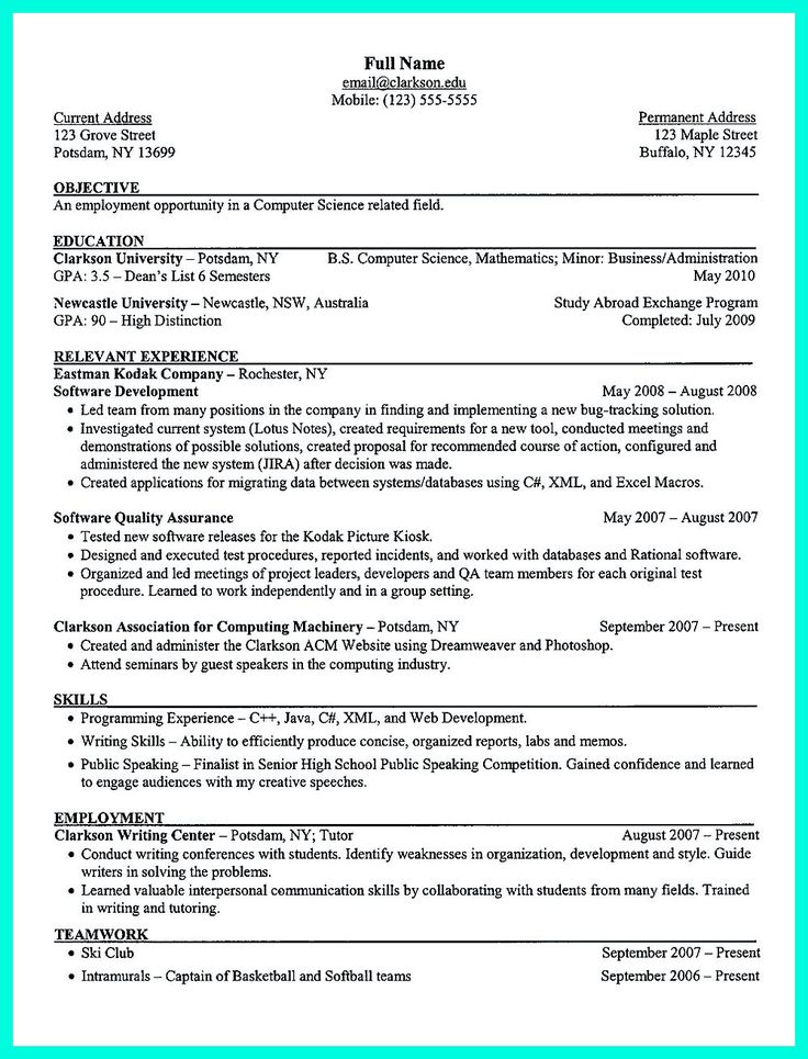 2695 best Resume Sample Template And Format images on Pinterest - computer science resume sample