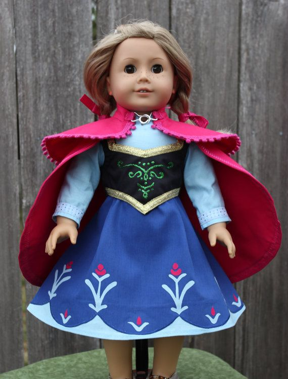 Frozen Doll Dress and Cape for American Girl Doll by Justforfunstitches.etsy.com