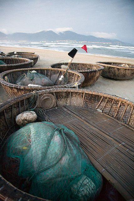 Round, bamboo fishing boats - Danang, Vietnam.  Can't wait.  A few more days!!!