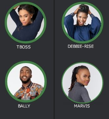 VOTE Now! Big Brother Naija Week 10 Eviction: TBoss, Debie-Rise, Bally and Marvis -  Click link to view & comment:  http://www.naijavideonet.com/big-brother-naija-tboss-debie-rise-bally-and-bassey-up-for-eviction/