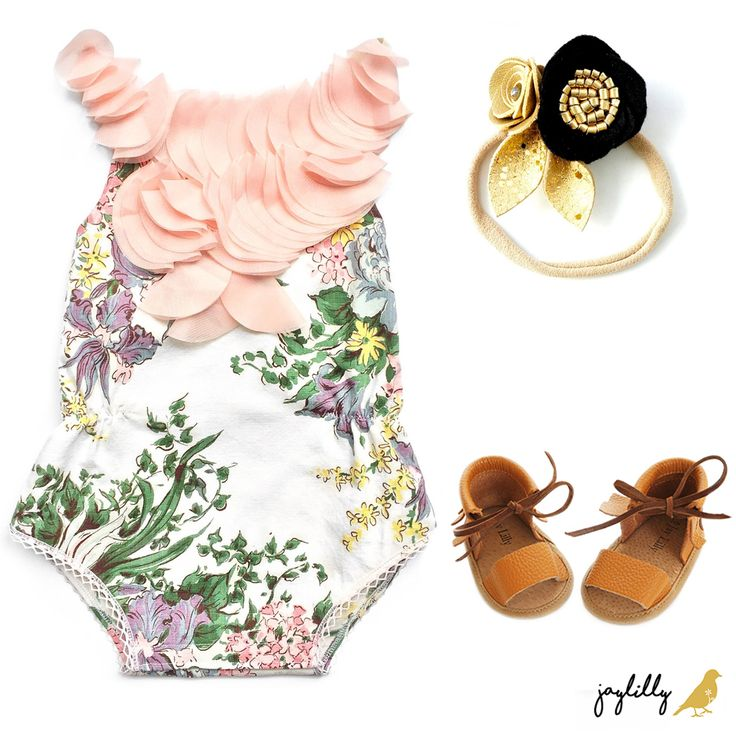 JayLillyBaby roman sandals paired with Label Jane's Vintage 1950's patterned Taylen Playsuit.