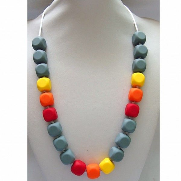 Dim Grey Beaded Food Grade Silicon Teething Necklace