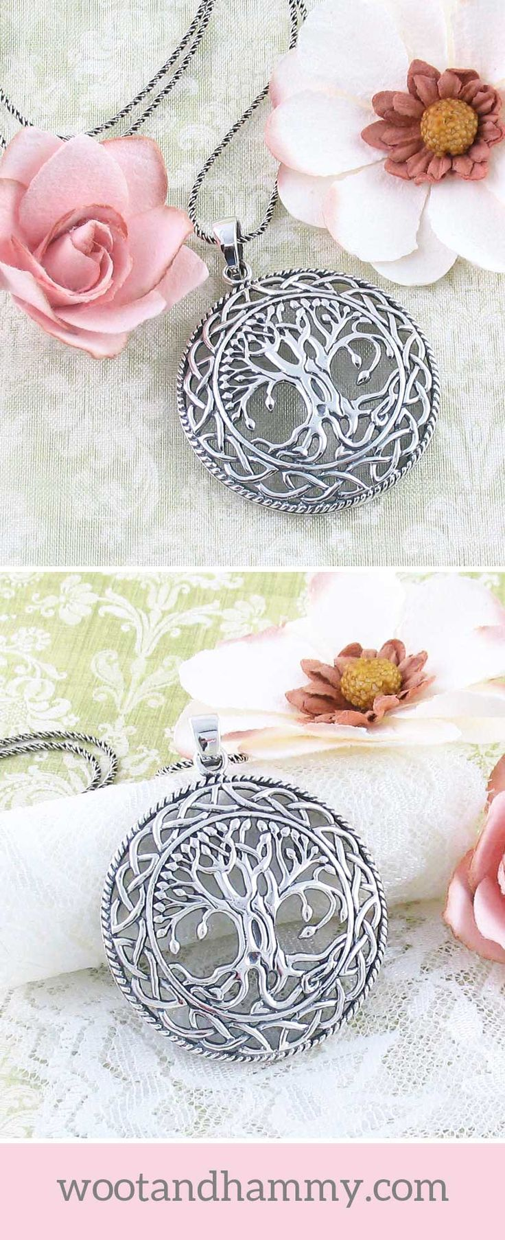 An intricately-detailed tree decorates the interior of this majestic Celtic knot pendant. With curving branches that end in lively leaf buds and intertwined roots that anchor it to the ground, this tree is aged, yet full of character and life.The pendant has a pronounced rounded shape that creates a dramatic play of light over its surface.