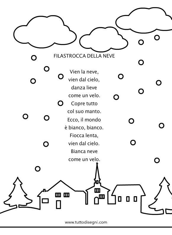 Filastrocca della neve con disegno - TuttoDisegni.com
