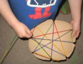 Make a tangled web weave with yarn and cardboard. Great for preschool-kindergarten years. Improves dexterity and coordination too!