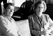 Margaret Thatcher with President Reagan at Camp David, Dec. 22, 1984