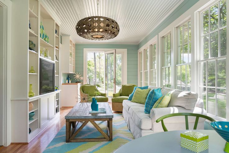 Sunroom style.  Blues with Green