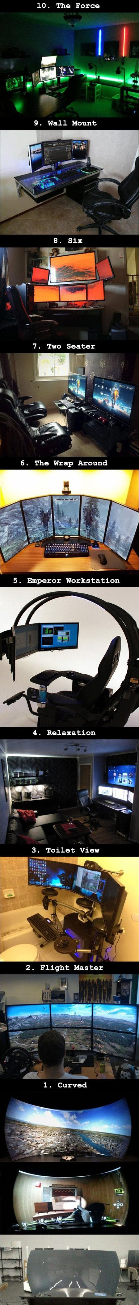 10 Awesome Computer Setups Any Geek Would Love - TechEBlog Check out the multi-arm monitor mount at loctek.us