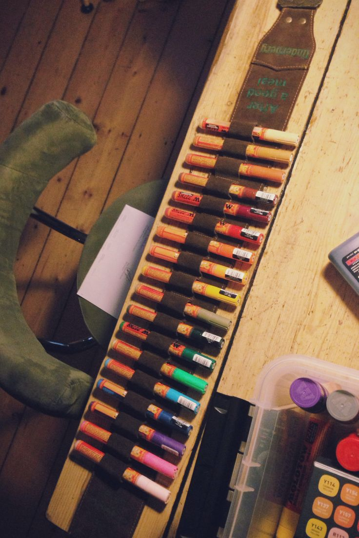 Perfect fit: #Molotow markers in shotgun-shell belt (in this case, a vintage #Underberg belt)