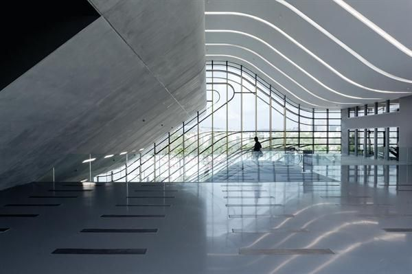 On+the+second+level+of+Pierresvives%2c+a+triple-height+lobby+features+a+curving+roof+incised+with+cove+lighting.