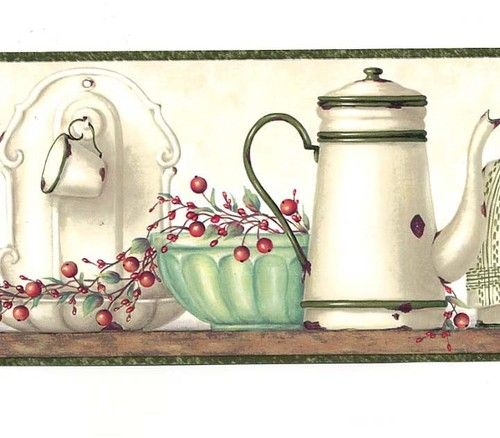 Kitchen Country Wallpaper Border Greens Reds Natural Wall Border | eBay