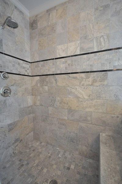 Emser tile silver tumbled travertine bathrooms pinterest for Tumbled marble bathroom designs