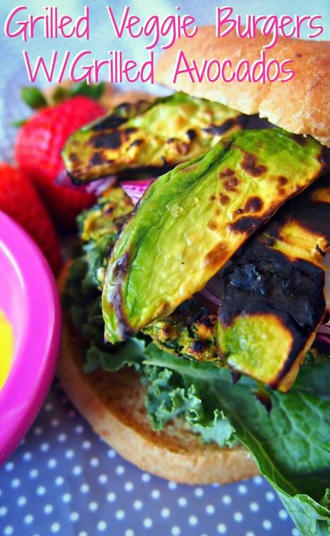 Grilled Veggie Burgers w/ Grilled Avocados