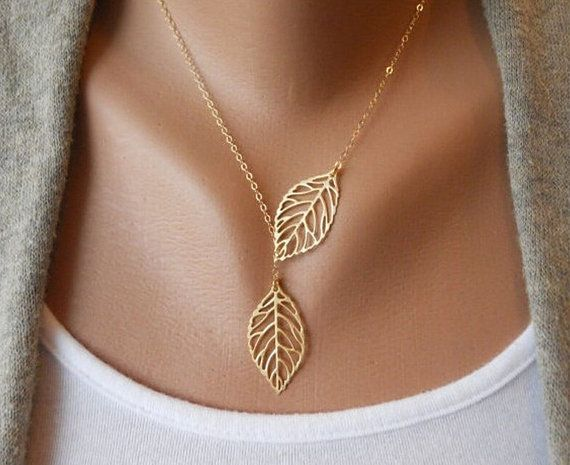 Double Alloy Leaf Link Fashion Chain Necklace $8.95