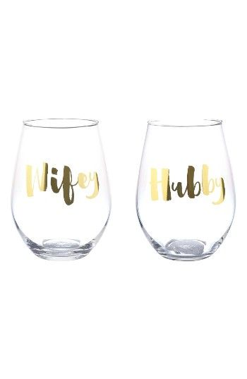 Free shipping and returns on Slant Collections Wifey/Hubby Set of 2 Stemless Wine Glasses at Nordstrom.com. A set of two modern, stemless wine glasses makes a great wedding, shower or anniversary gift for the happy couple.