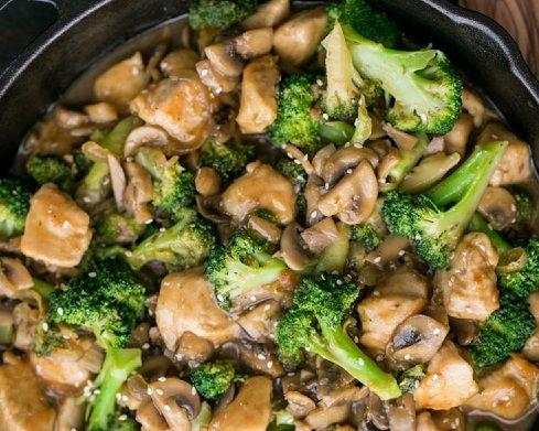 Куриное мясо, брокколи и грибы, Жаркое