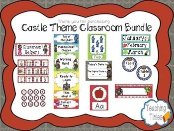 Please take a few seconds to leave me some feedback on this product. This classroom decoration pack includes everything you will need to set up your castle-themed classroom! There are 134 pages including:Name tags Welcome SignsBehavior Clip ChartMultiple Sized LabelsReward passesNumber tagsWelcome PennantTable SignsClassroom JobsFull Calendar PackWhere are We?