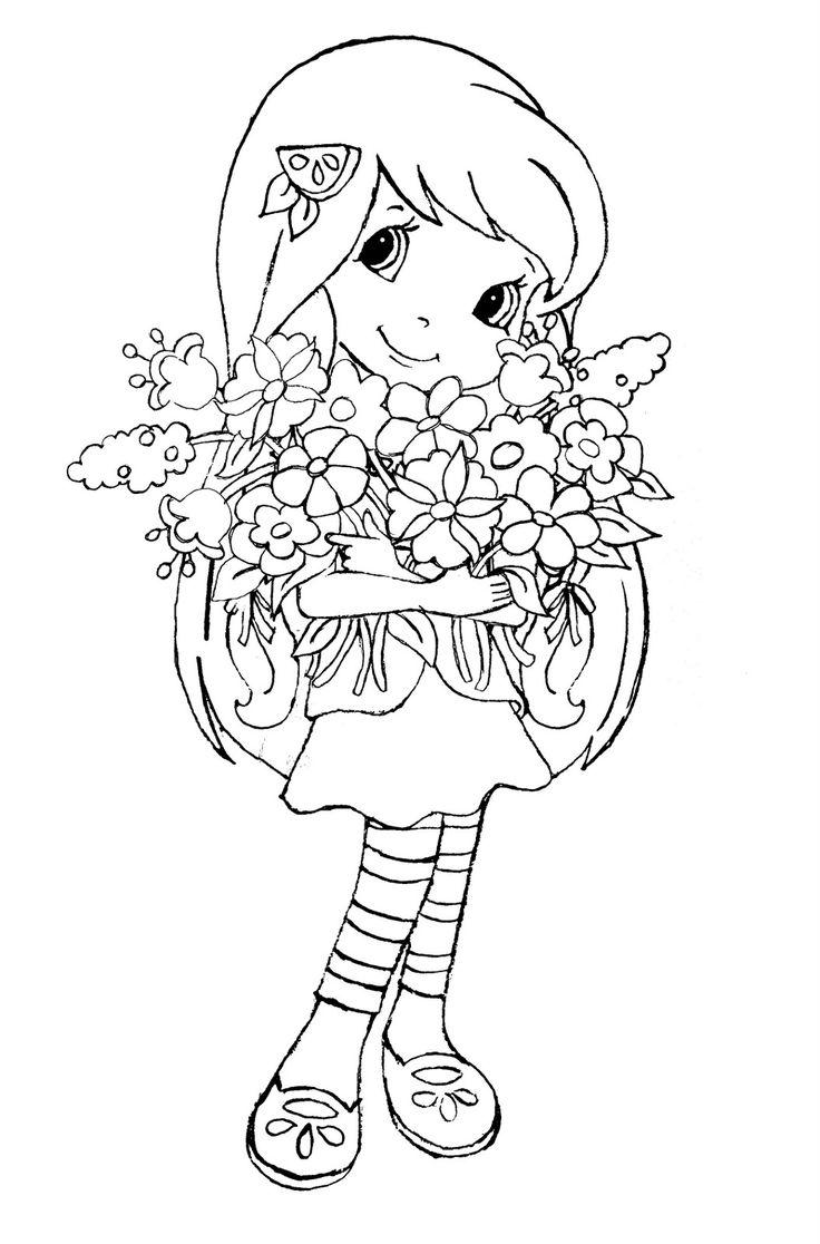 Картинка голубя, картинки девочка с цветами раскраска