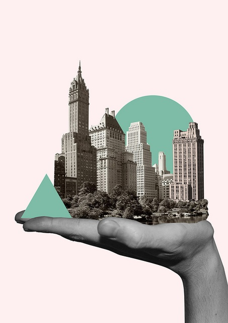 city in my hand // love this #travelartwork #cleveridea #illustration