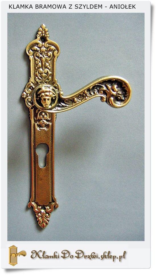 Klamki do drzwi Wejściowych z szyldem na wkładkę (Patyna- Poler)