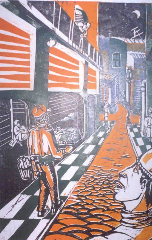 """xilografía color """"Noche Porteña""""  2000"""