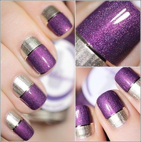 Two-Toned Nail Designs You Have To Try #purple #glossy #nails - bellashoot.com