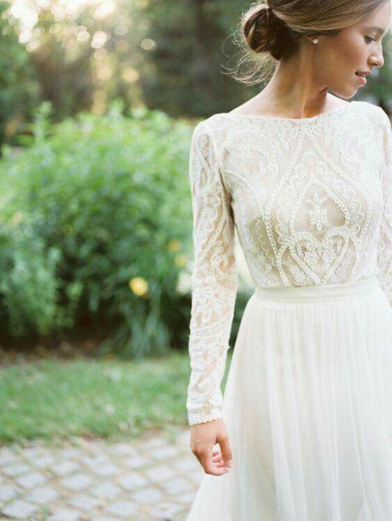 Lovely long-sleeve dress with lace bodice #weddingdress #weddinggown #lace