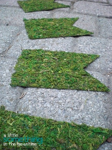 A moss banner made from adhesive cardboard.  How easy is this?  And the possibilities!