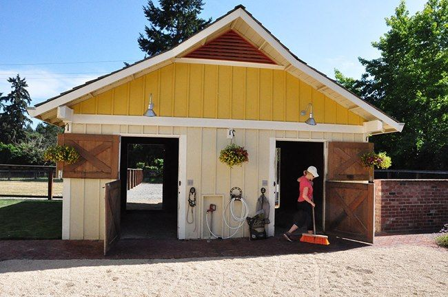 Two stall barn with turnout areas for each horse, plus small grassy grazing pens are in back.  Small Horse-Property Tour | Slideshows | TheHorse.com