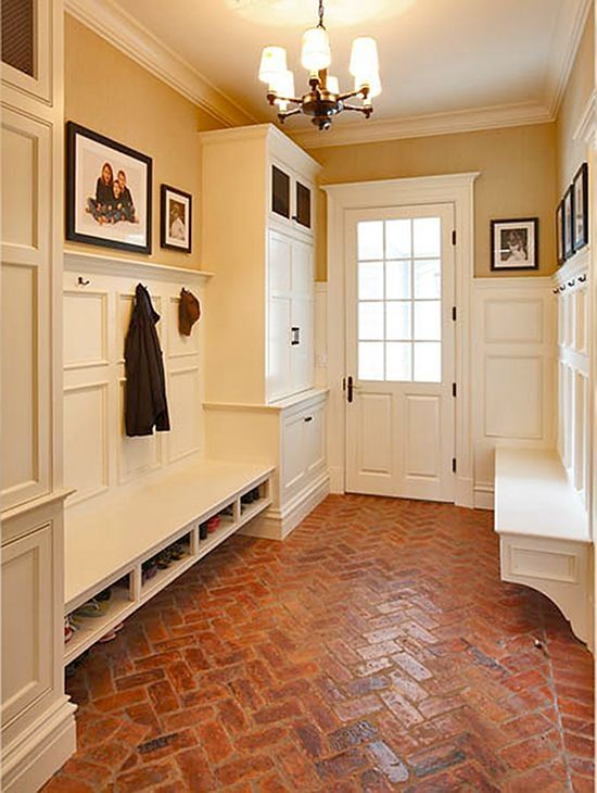 Traditional Mud Room with Wainscotting, Crown molding, Herringbone brick pattern, Glass panel door, Brick floors, Chandelier