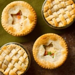 Mini Chicken Pot Pies in mason jars are the perfect portion size. You can even freeze some to save for later!