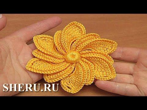 ▶ Вязание цветка для ирландского или гипюрного кружева Урок 31 Crochet Irish Flower - YouTube