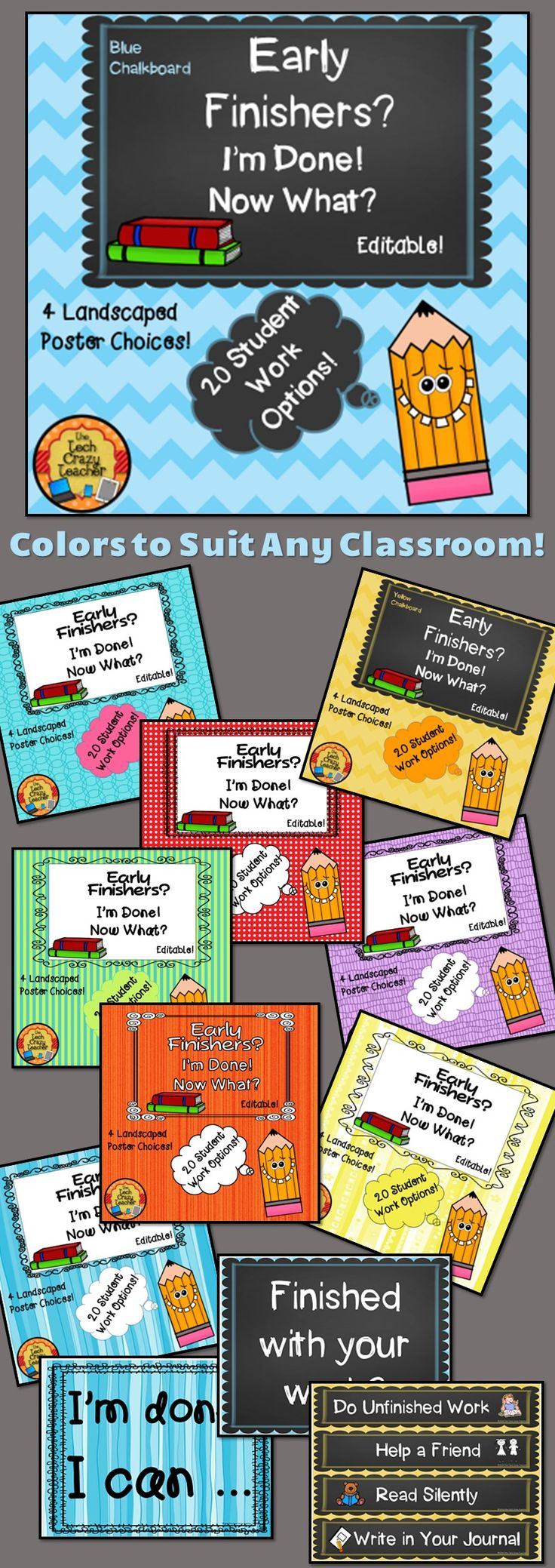 """Tired of hearing, """"I'm done! What do I do now?"""" all the time even though you have given directions on what to do next? This classroom management printable will help your early finishers know what to do """"next"""". This product gives students a list of """"to do"""" items to keep them engaged in the learning process if they finish their work early. Included are 4 landscaped posters to display and 20 different learning choices for students. My favorite is the """"I can"""" poster. $"""