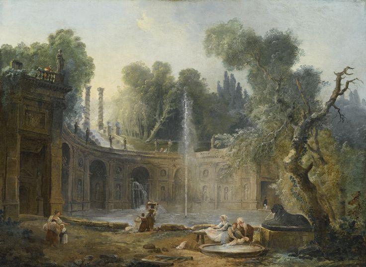 Hubert Robert PARIS 1733 - 1808 THE TEATRO DELLE ACQUE IN THE GARDEN OF THE VILLA ALDOBRANDINI oil on canvas