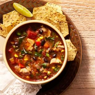 Southwestern Vegetable & Chicken Soup Recipe.  Less than 300 Calories Per Serving, plus it can be frozen for 6 months.  Win, Win!