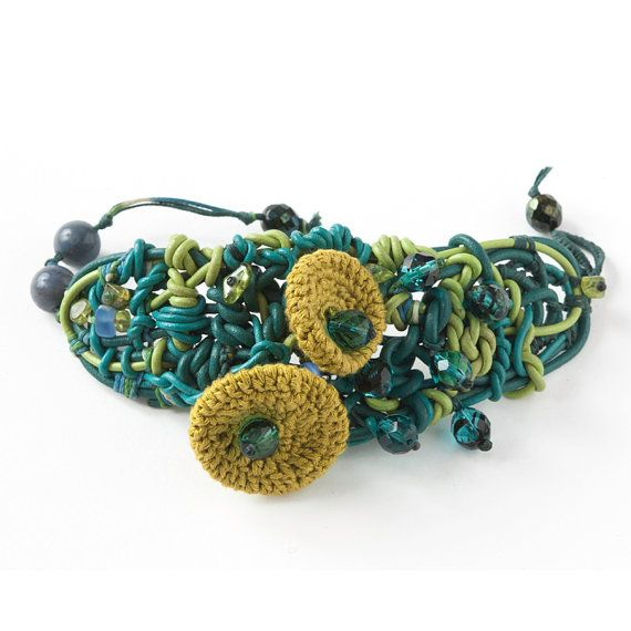 Green Leather  Woven Bracelet with Green Lime Crocheted Flowers and Green Blue Beads