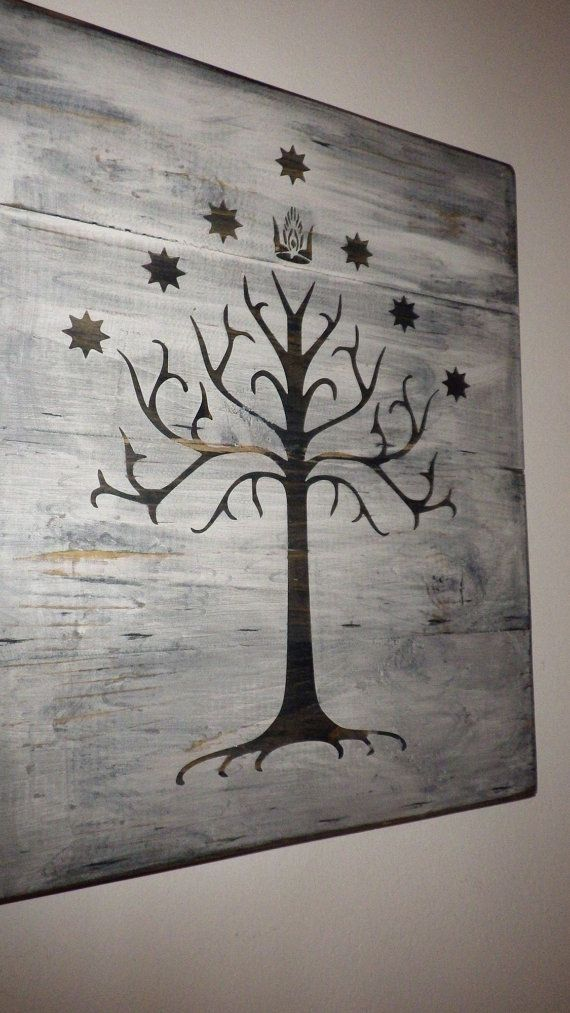 This wall hanging bears the Tree of Gondor from J. R. R. Tolkeins series, The Lord of the Rings.  This wall hanging is made with 4 separate aged and weathered planks of wood fashioned together and measures approximately 14 x 12. A sawtooth hanger is placed on back so that this sign may be hung or set on a shelf.  This wall hanging is perfect for you if you love Lord of the Rings or even if you just love this beautiful design.  ***This item is made to order. Each piece may vary slightly.***