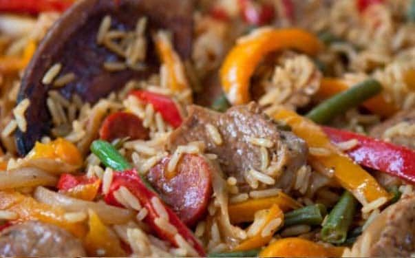 All In One Spicy Pork And Rice - Get this recipe and loads of other mint tips with our Diet Club! Join Now!